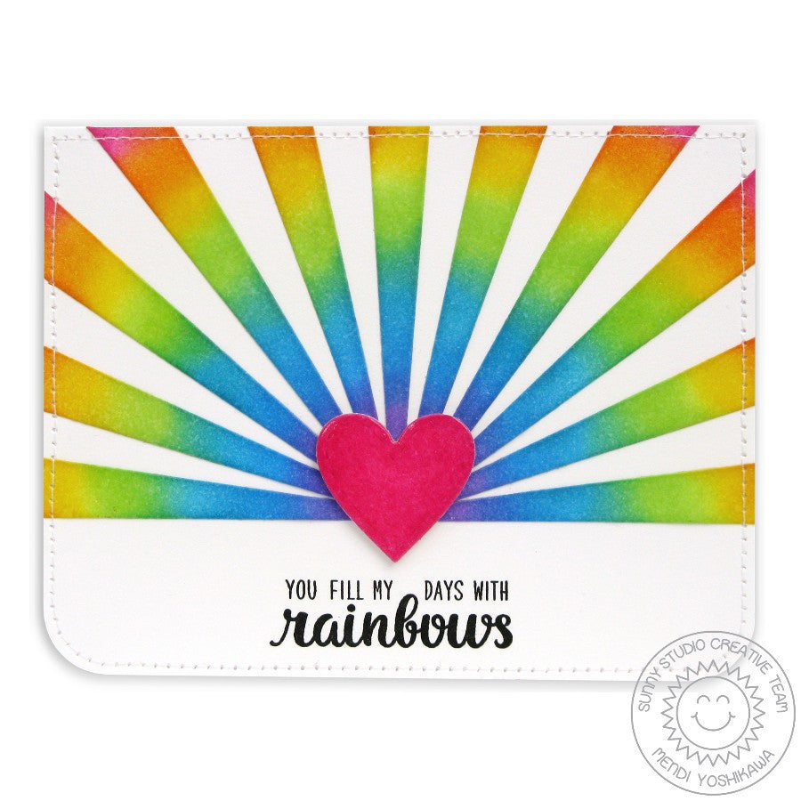 Sunny Studio Stamps Color My Happy Rainbow Sunburst Card