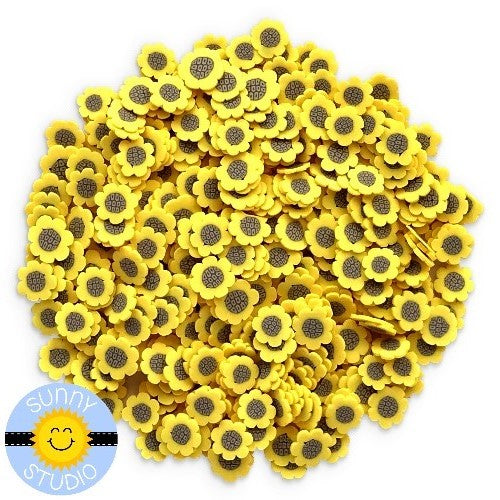 Sunny Studio Stamps Mini Yellow Sunflower Confetti Clay Flower Sprinkles Embellishments for Shaker Cards