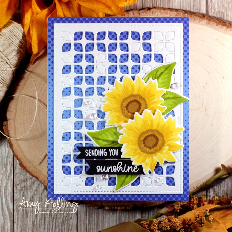 Sunny Studio Stamps Sunflower Fields Layered Flower Handmade Card by Amy Kolling