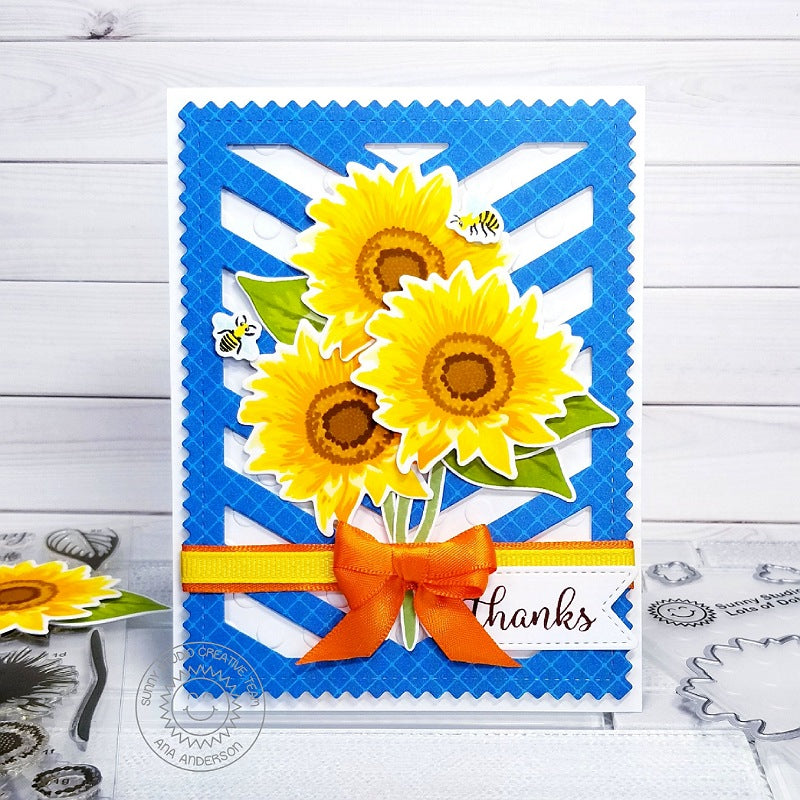 Sunny Studio Stamps Sunflower Fields Thank You Card (using Frilly Frames Stitched Chevron Dies)