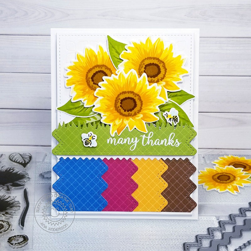 Sunny Studio Stamps Sunflower Fields Thank You Card (using Colorful Autumn 6x6 Patterned Paper)