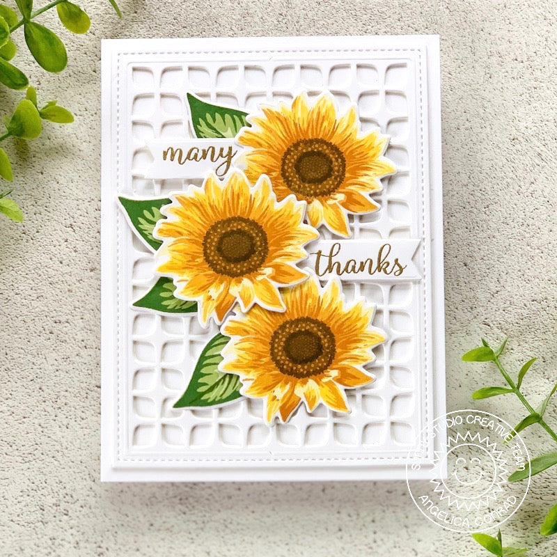 Sunny Studio Stamps Layered Fall Sunflower Thank You Card (using Frilly Frames Retro Petals Dies)