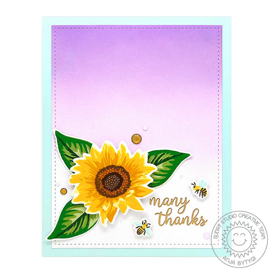 Sunny Studio Stamps Sunflower Fields Lavendar Ombre Thank You Card by Anja