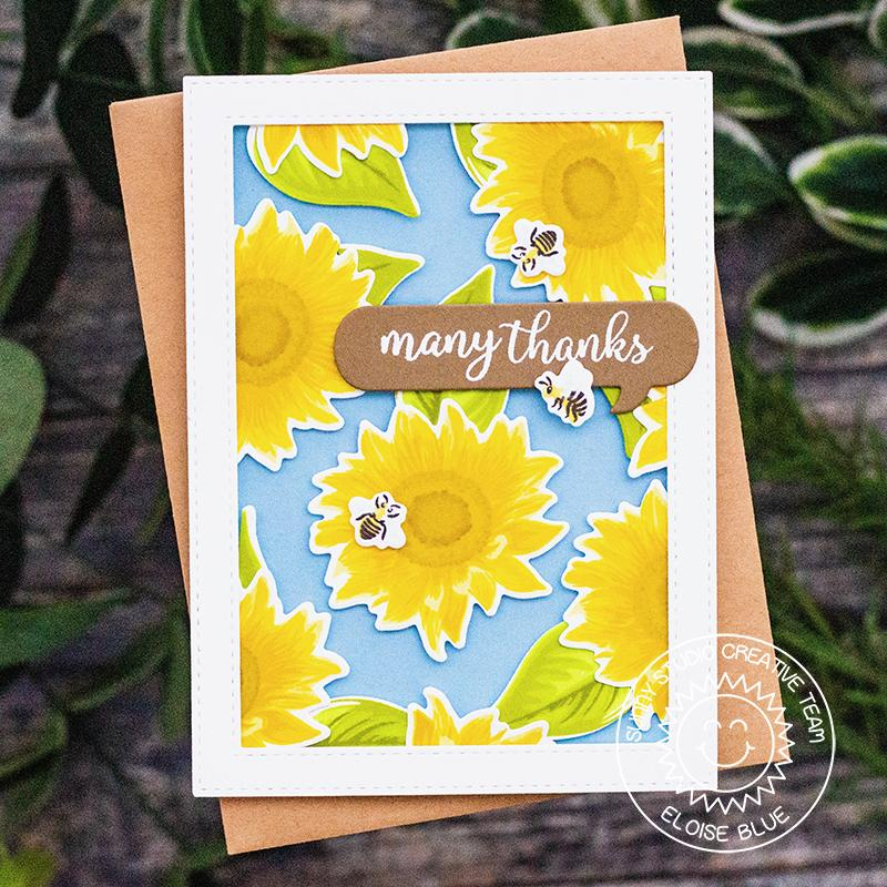 Sunny Studio Stamps Sunflower Fields Layered Flower Handmade Thank You Card by Eloise Blue