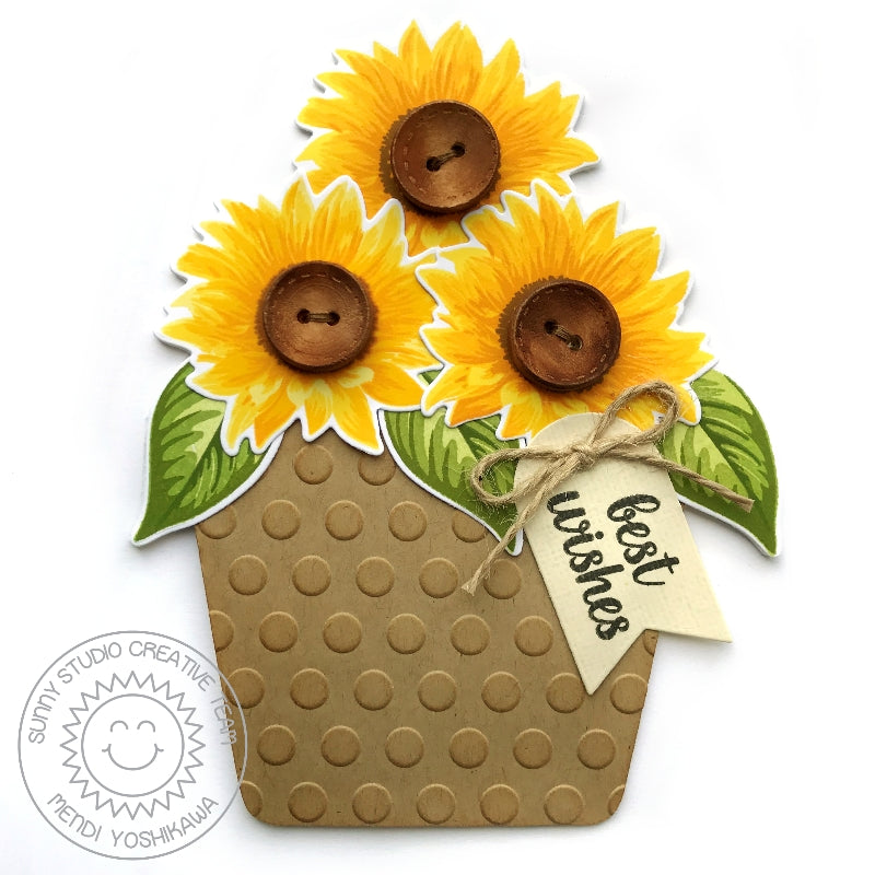 Sunny Studio Polka-dot Embossed Flower Pot Card using Sunflower Fields Stamps