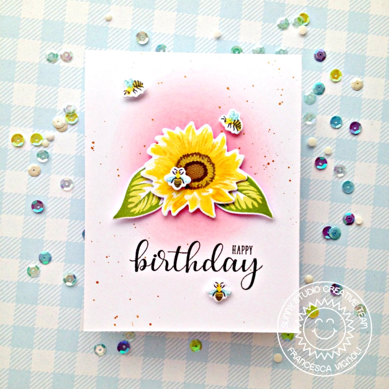 Sunny Studio Stamps Sunflower Fields Pink Clean & Simple CAS Birthday Card by Franci