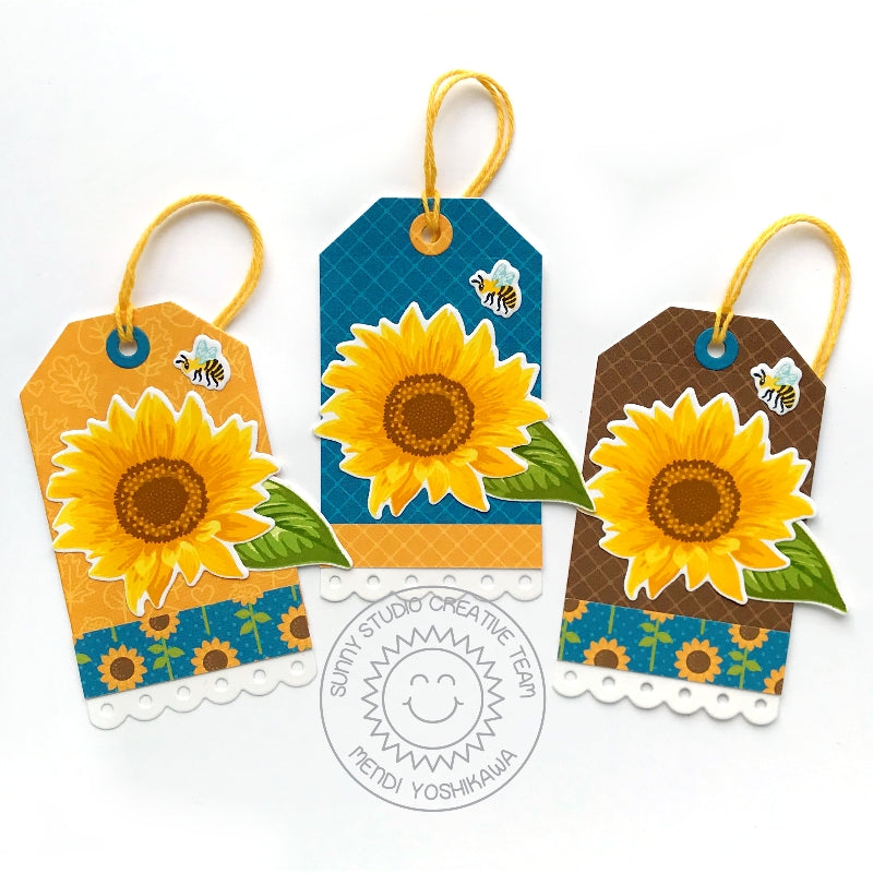 Sunny Studio Stamps Sunflower Fields Honey Bee Fall Layered Flower Gift Tags by Mendi Yoshikawa