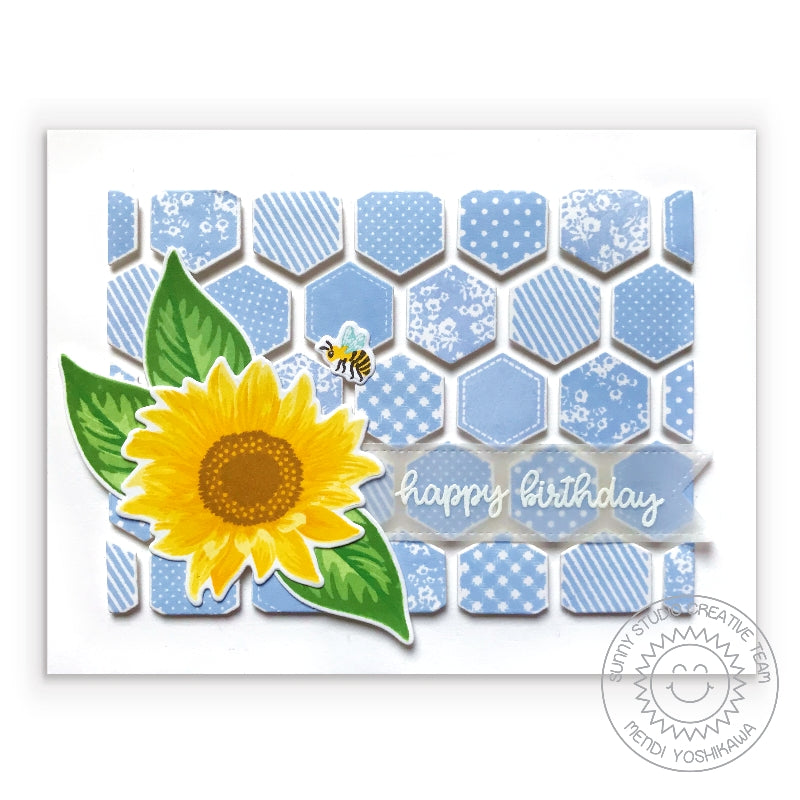 Sunny Studio Stamps Sunflower Fields Quilted Patchwork Quilt Style Card (using Frilly Frames Hexagon Dies)