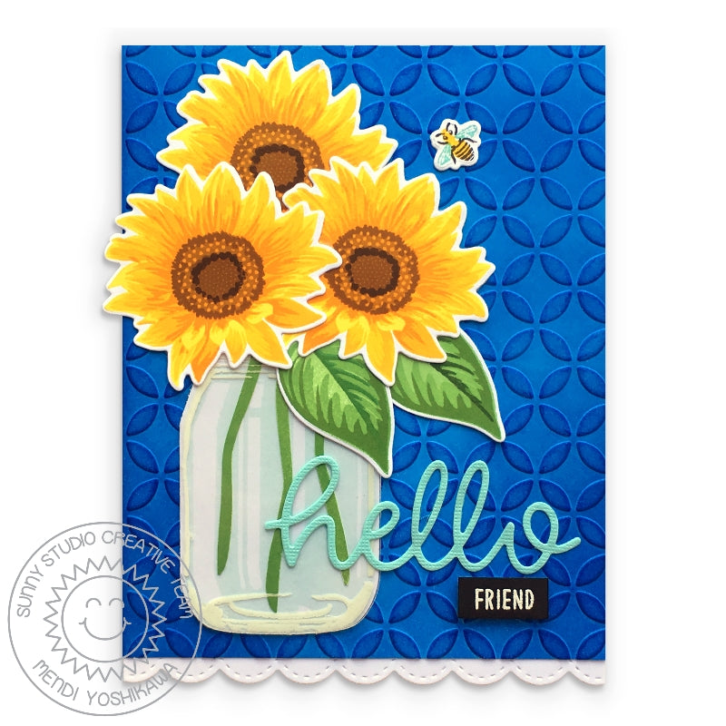 Sunny Studio Stamps Embossed Layered Sunflower Card in Jar Vase (using Moroccan Circles 6x6 Embossing Folder)