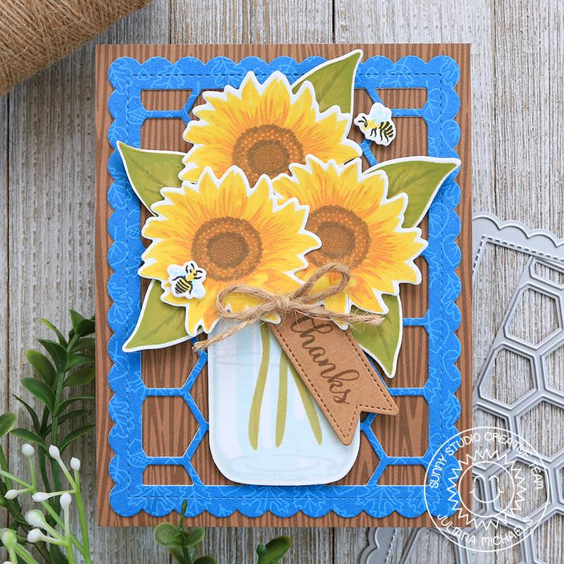 Sunny Studio Stamps Layered Fall Sunflowers in Jar Vase Card with Chicken Wire Background (using Frilly Frames Hexagon Card)