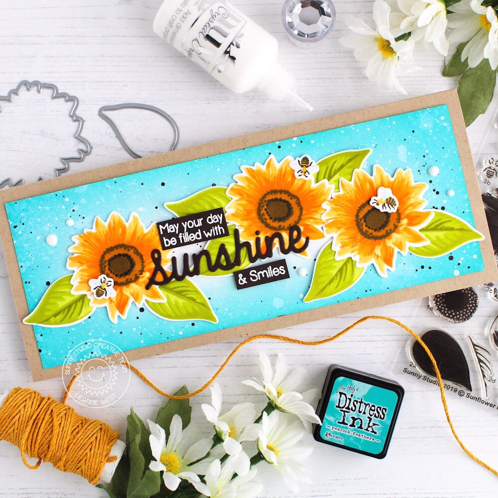 Sunny Studio Stamps Sunflower Fields Layered Flower Sunshine & Smiles Handmade Card by Leanne West