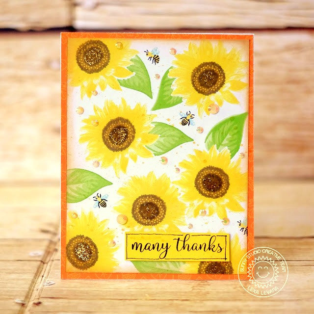 Sunny Studio Stamps Sunflower Fields Layered Flower Handmade Thank You Card by Lexa Levana
