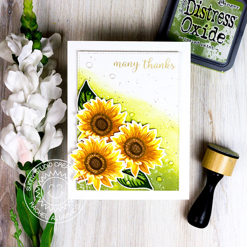 Sunny Studio Stamps Sunflower Fields Layered Flower Handmade Thank You Card by Rachel
