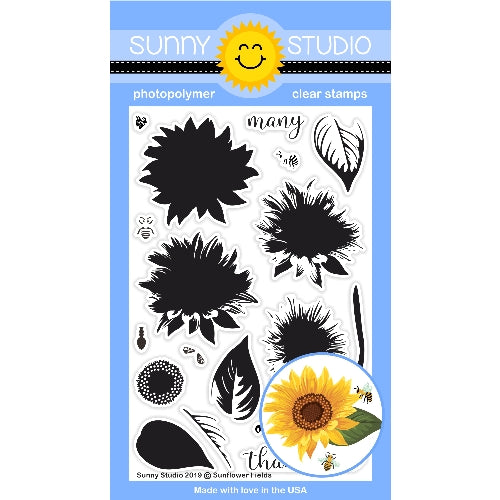 Sunny Studio Stamps Sunflower Fields 4x6 Color Layering Layered Flower Clear Photopolymer Stamp Set