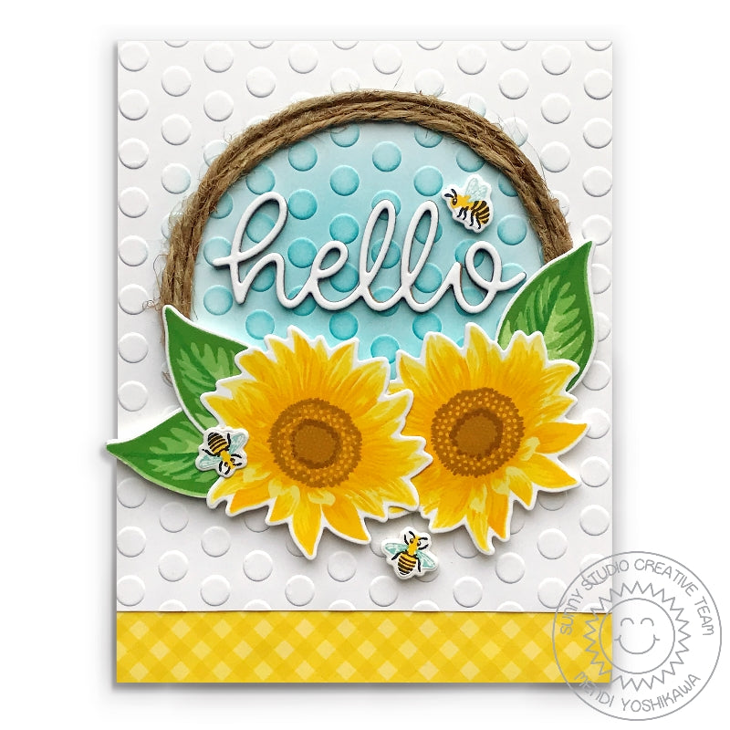 "Sunny Studio Stamps Sunflower Fields ""Hello"" Polka-dot Embossed Wreath Style Card (using Lots of Dots 6x6 Embossing Folder)"