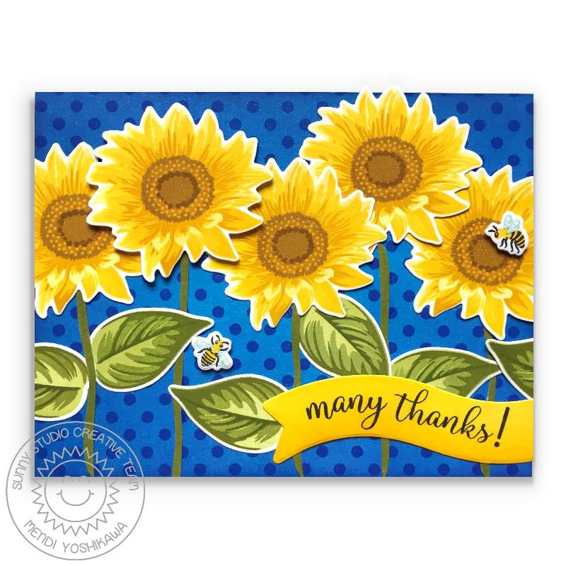 Sunny Studio Stamps Sunflower Fields Royal Blue Polka-dot Thank You Card