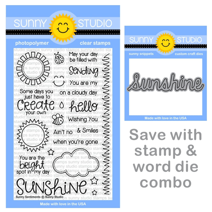Sunny Studio Sunny Sentiments 4x6 Clear Greetings Stamps & Sunshine Word Die Bundle