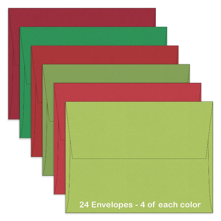 Sunny Studio Stamps ~ A2 Christmas Envelopes Assorted Red & Green Holiday Colors, 24 Count