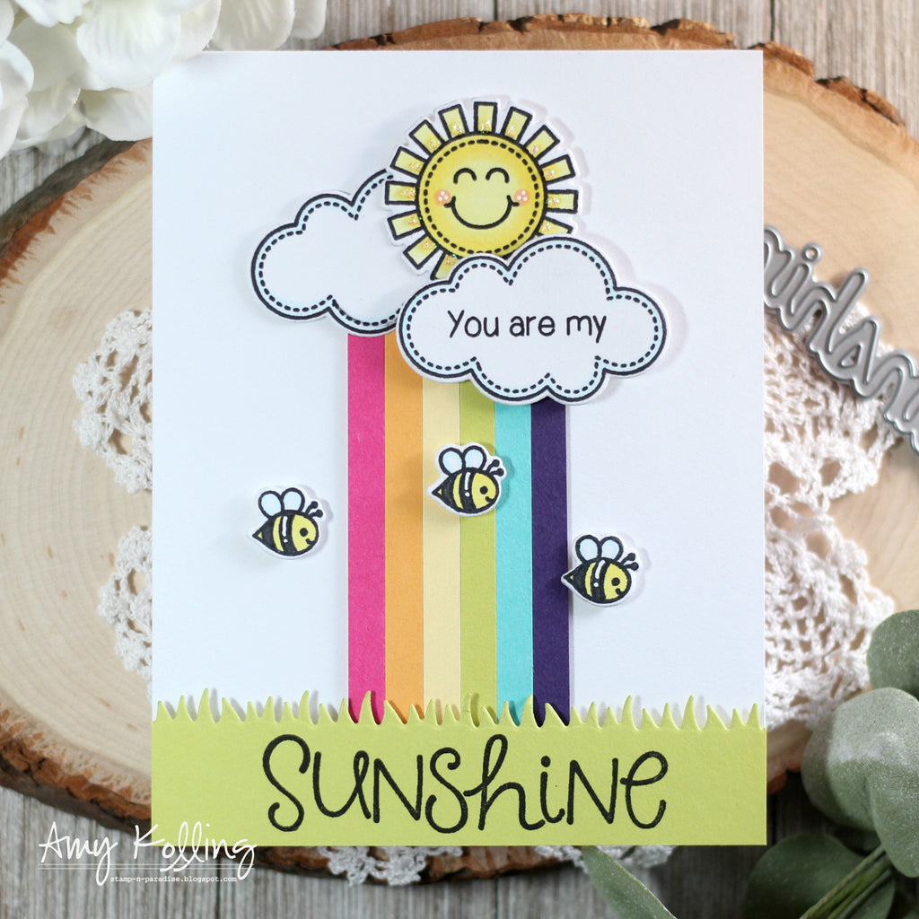Sunny Studio Stamps Sunny Sentiments You Are My Sunshine Sun, Clouds, Rainbow & Bumblebee Card by Amy Kolling