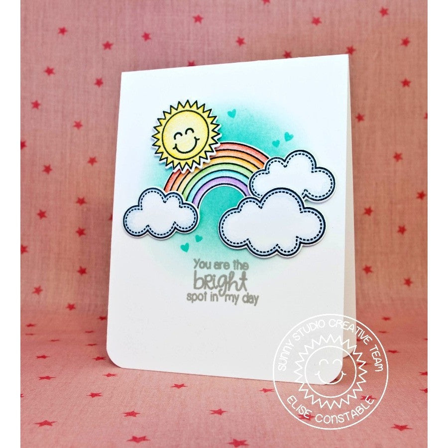 Sunny Studio Stamps Rain or Shine Bright Spot In My Day Rainbow Card