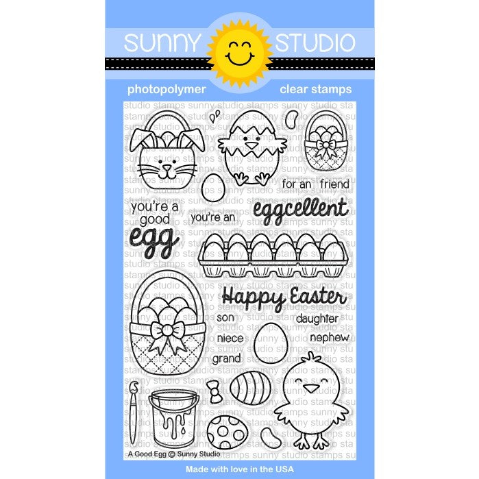 Sunny Studio Stamps A Good Egg 4x6 Photo-Polymer Clear Stamp Set