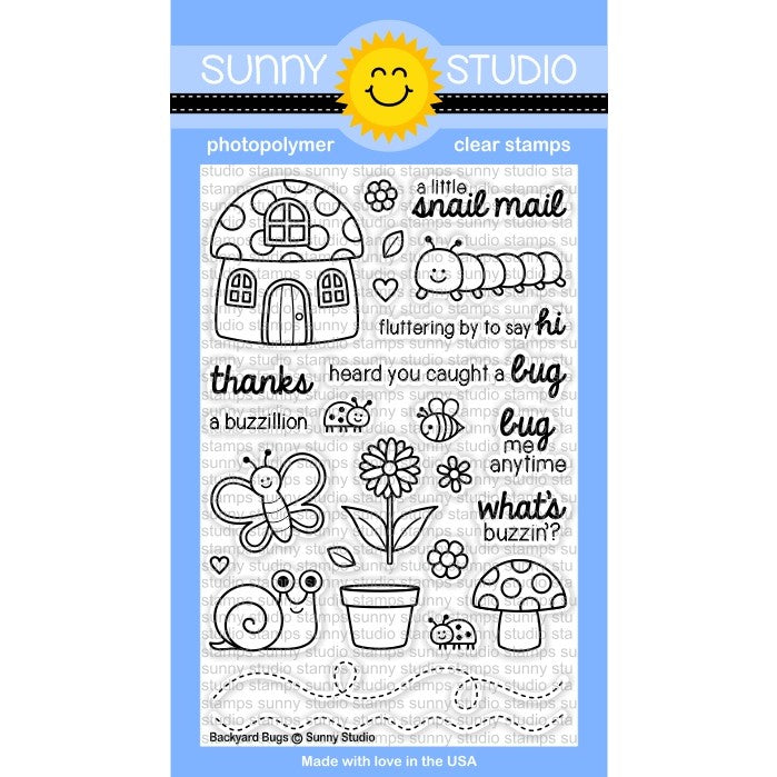 Sunny Studio Stamps Backyard Bugs 4x6 Photo-Polymer Clear Stamp Set
