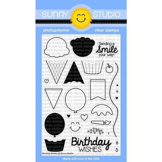 Sunny Studio Stamps Birthday Smiles 4x6 Ice Cream, Cupcakes & Balloons Photo-Polymer Clear Stamp Set