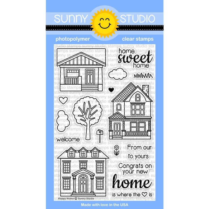 Sunny Studio Stamps Happy Home 4x6 House Themed Photo-Polymer Clear Stamp Set