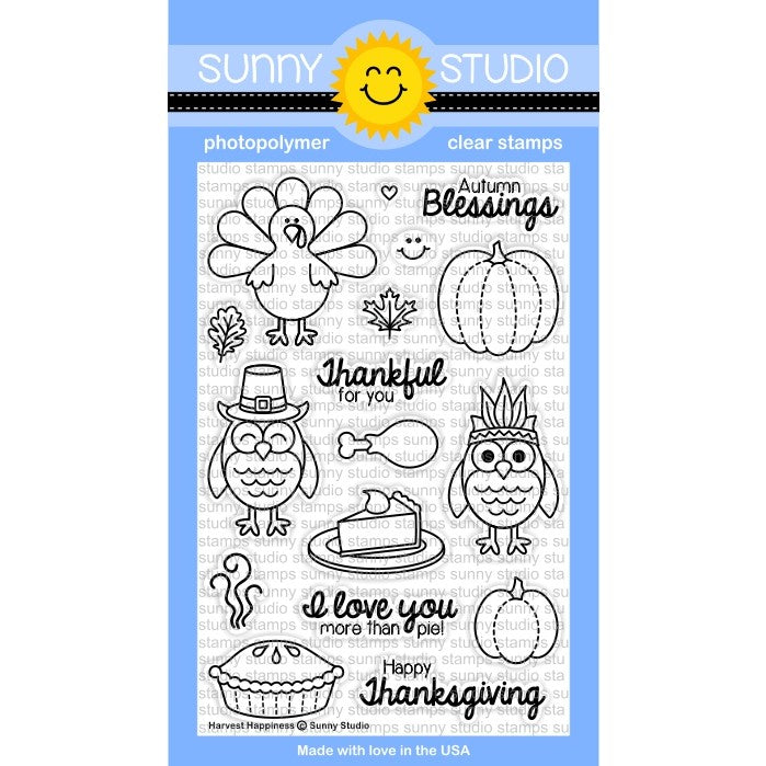 Sunny Studio Stamps Harvest Happiness 4x6 Fall Thanksgiving Photo-Polymer Clear Stamp Set