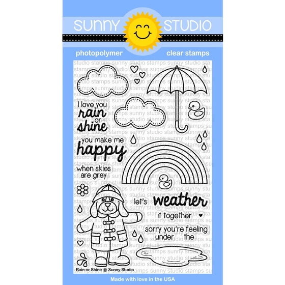 Sunny Studio Stamps Rain or Shine 4x6 Rainbow & Umbrella Photo-Polymer Clear Stamp Set