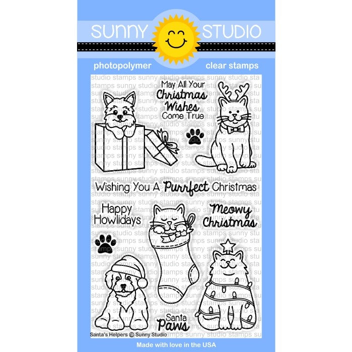 Sunny Studio Stamps Santa's Helpers 4x6 Kitty Cat & Puppy Dog Christmas Photo-Polymer Clear Stamp Set
