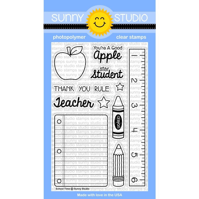 Sunny Studio Stamps School Time 4x6 Photo-Polymer Clear Stamp Set