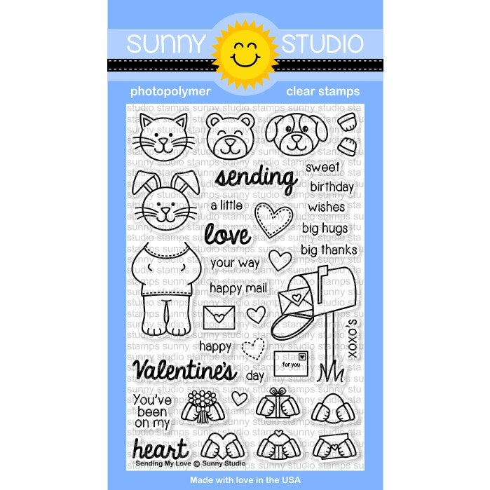 Sunny Studio Stamps Sending My Love 4x6 Critter themed Valentine's Day Photo-Polymer Clear Stamp Set