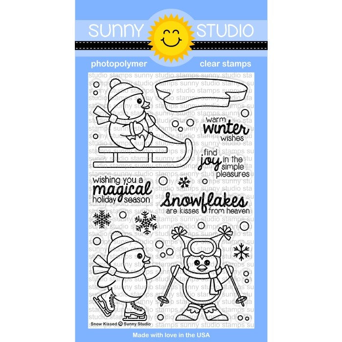 Sunny Studio Stamps Snow Kissed 4x6 Sledding, Skiing & Ice Skating Penguin Photo-Polymer Clear Stamp Set