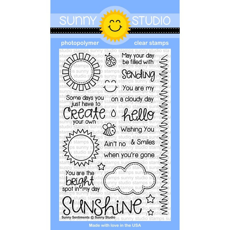 Sunny Studio Stamps Sunny Sentiments 4x6 Sunshine, Sun, Cloud & Grass Photo-Polymer Clear Stamp Set