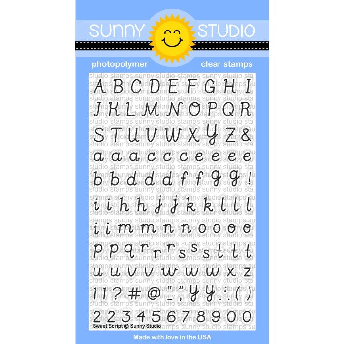 Sunny Studio Stamps Sweet Script 4x6 Uppercase & Lowercase Alphabet Photo-Polymer Clear Stamp Set