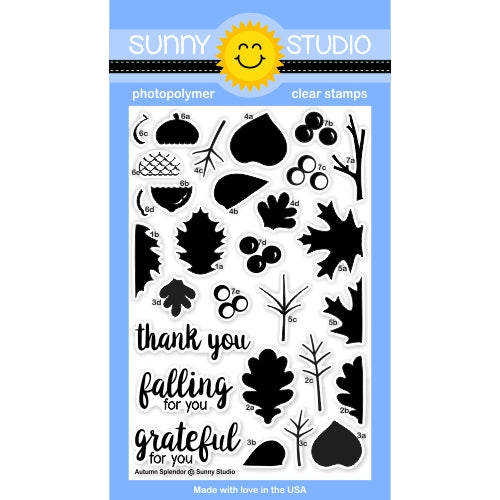 Sunny Studio Stamps Autumn Splendor 4x6 Fall Leaves Photo-Polymer Clear Stamp Set