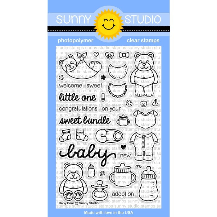 Sunny Studio Stamps Baby Bear 4x6 Photo-Polymer Clear Stamp Set