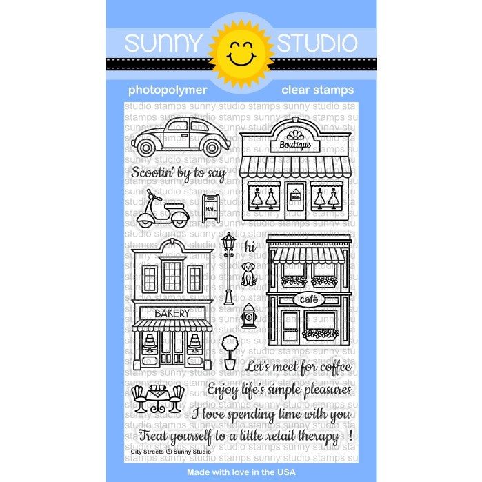 Sunny Studio Stamps City Streets 4x6 Downtown Buildings Photo-Polymer Clear Stamp Set