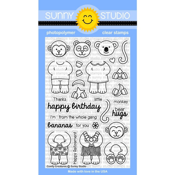 Sunny Studio Stamps Comfy Creatures 4x6 Monkey, Koala & Panda Bear Photo-Polymer Clear Stamp Set