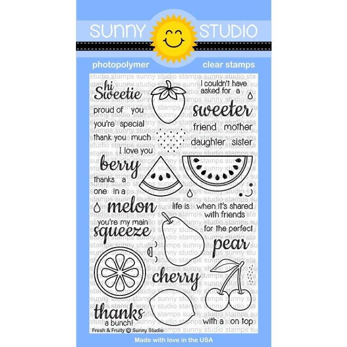 Sunny Studio Stamps Fresh & Fruity 4x6 Fruit Photo-Polymer Clear Stamp Set