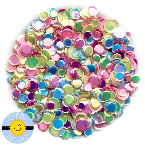 Sunny Studio Stamps Iridescent Rainbow Pastel Sequins 4mm, 5mm & 7mm Confetti perfect for embellishing paper crafting projects or shaker cards