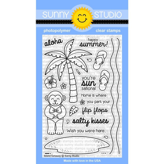 Sunny Studio Stamps Island Getaway 4x6 Palm Tree Photo-Polymer Clear Stamp Set