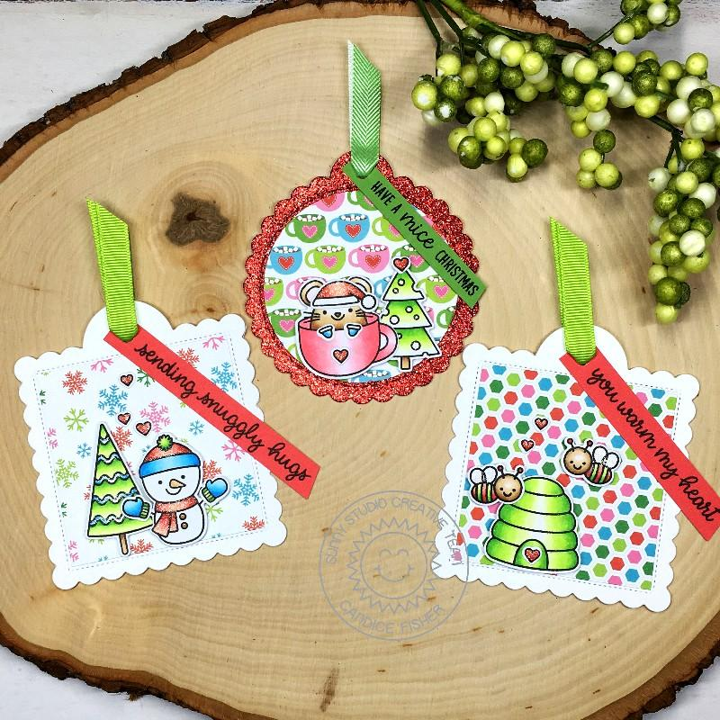 Sunny Studio Stamps Mouse in Mug Christmas Holiday Gift Tag by Candice Fisher (using stitched Scalloped Circle Tag Dies)