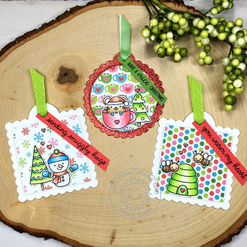 Sunny Studio Stamps Snowman, Mouse and Honey Bee Christmas Holiday Gift Tag by Candice Fisher (using stitched Scalloped Square Tag Dies)