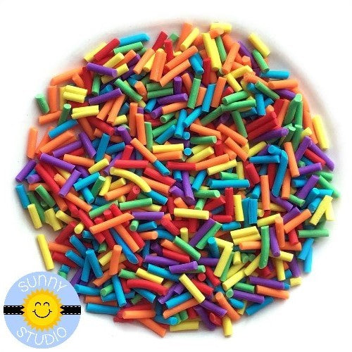 Sunny Studio Stamps Rainbow Sprinkles in Bright, Primary Colors --The perfect embellishment for Shaker Cards