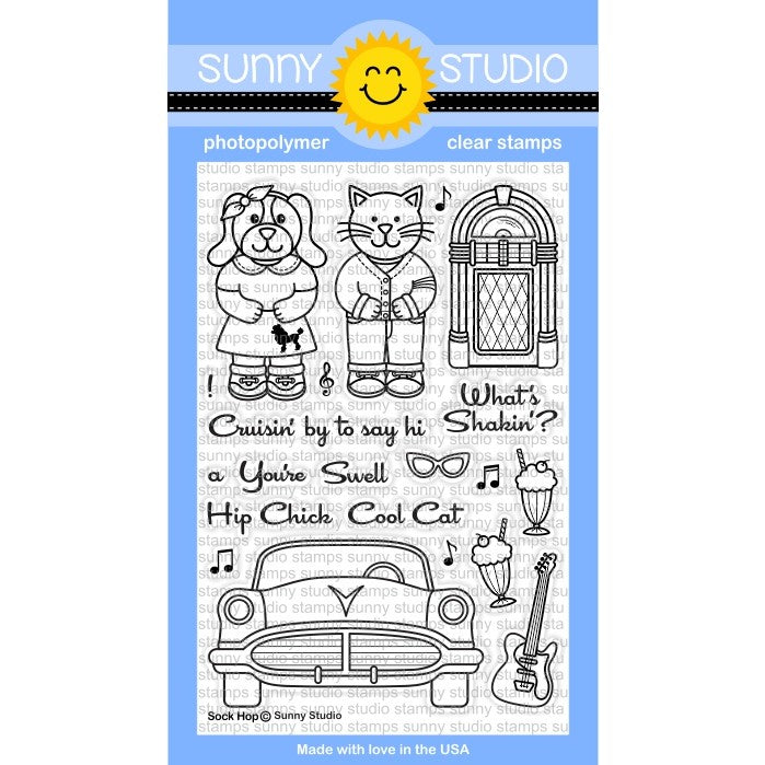 Sunny Studio Stamps Sock Hop 4x6 Retro 1950's inspired Jukebox, Guitar, Ice Cream Soda & Poodle Skirt Photo-Polymer Clear Stamp Set