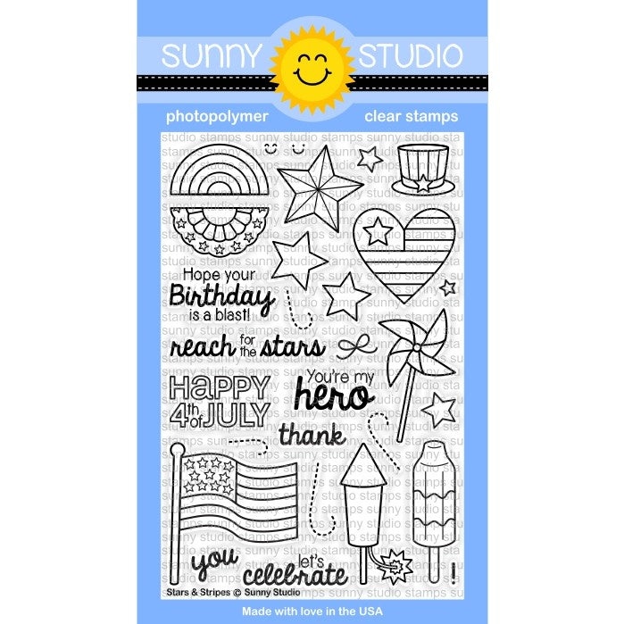 Sunny Studio Stamps Stars & Stripes 4x6 Patriotic Fourth of July Photo-Polymer Clear Stamp Set