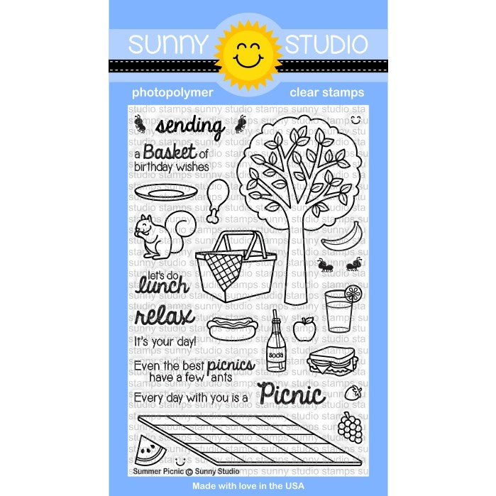 Sunny Studio Stamps Summer Picnic 4x6 Photo-Polymer Clear Stamp Set