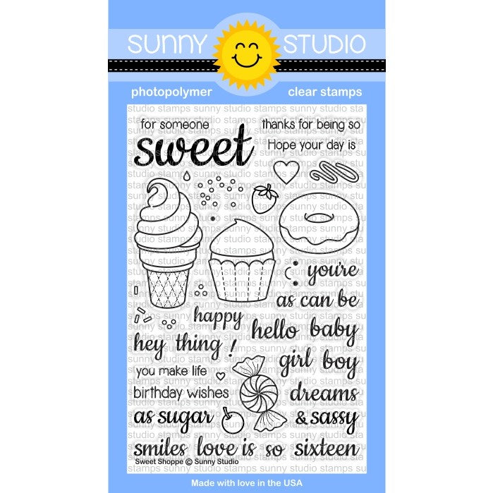 Sunny Studio Stamps Sweet Shoppe 4x6 Ice Cream, Cupcake & Donut Photo-Polymer Clear Stamp Set